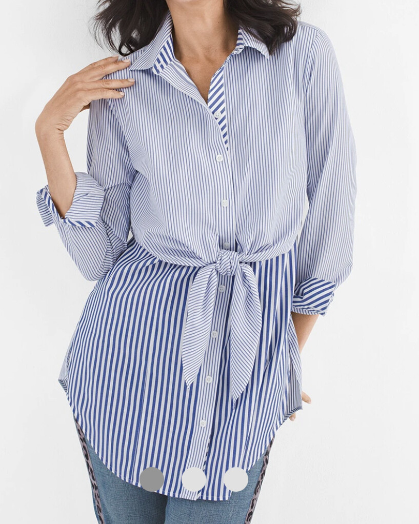 CHICOS Blue & White Cotton Tie Front Tunic size 3 (XL/16)