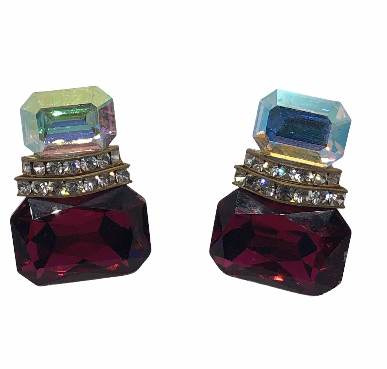Beautiful Ruby Red & Crystal Clip On Earrings