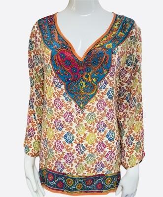 Anthropologie TOLANI Multi Color Silk Tunic Blouse size M