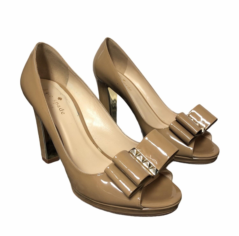 KATE SPADE Francesca Camel Patent Peep Toe Pumps 7 1/2