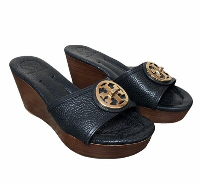 """TORY BURCH """"Tory"""" Navy Wedge Sandals size 8"""