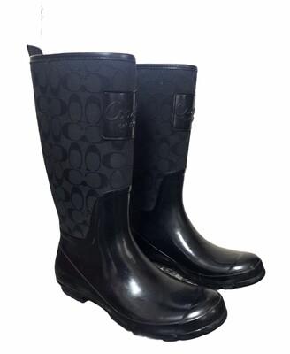 "COACH ""Pearl"" Black SIgnature Logo Rain Boots sz 10"