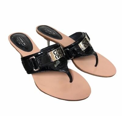 "COACH ""Alberta"" Black Patent Thong Heel Sandals sz 8"