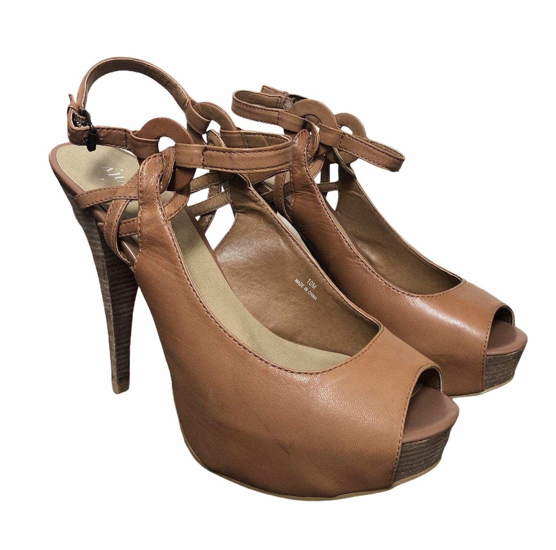 "LEVITY ""EARLEEN"" Sand Leather Platform Strap Heels 10"
