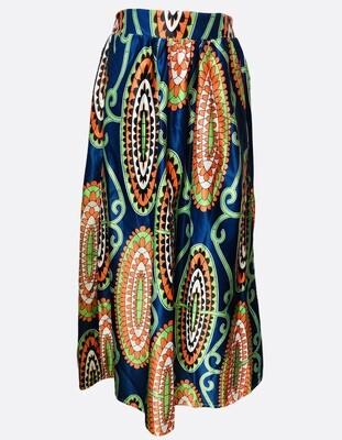 AFIBI Royal Blue Print Maxi Skirt S