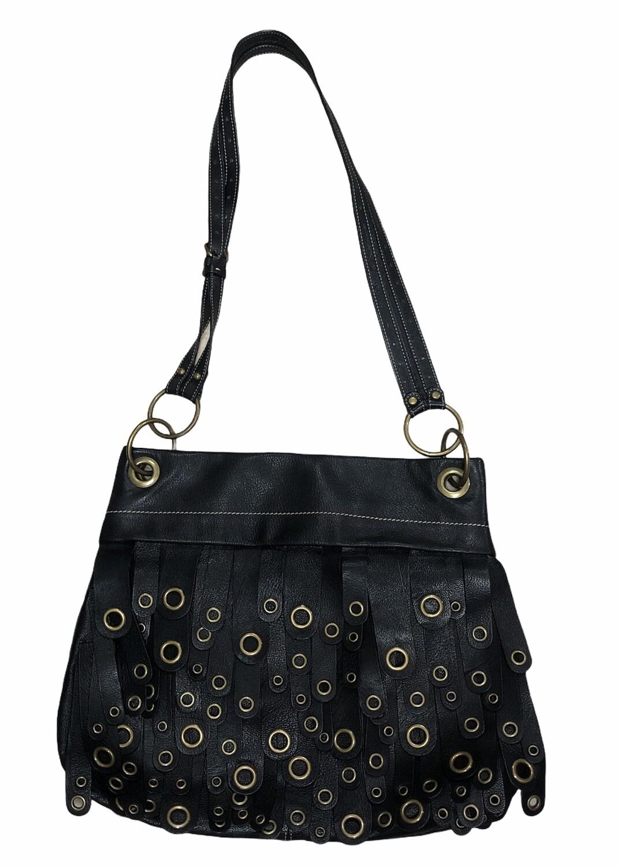 New MAXX New York Black Leather Tassle Fringe Handbag