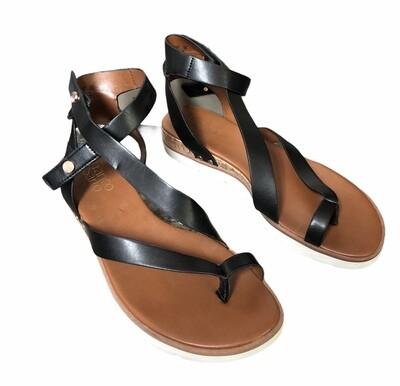 "FRANCO SARTO ""Daven"" Black Strap Sandals sz 8"
