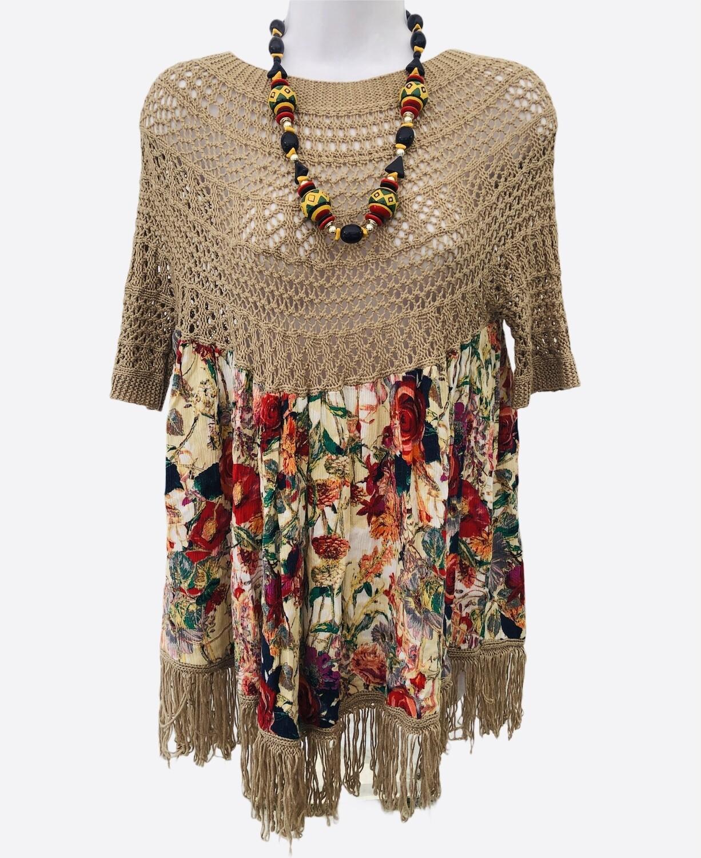 SELFIE COUTURE Knit Floral Boho Top S/M