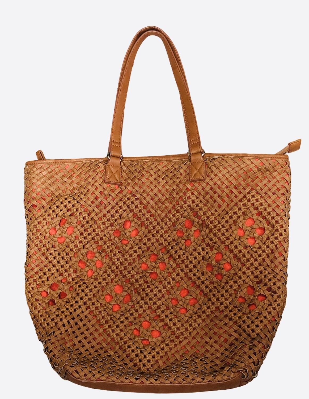 STREET LEVEL Woven Vegan Leather Tote Bag