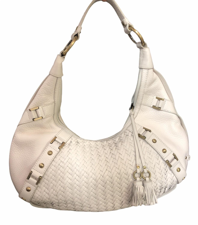 COLE HAAN White Woven Leather Hobo Handbag