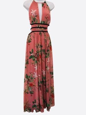 EXPRESS Tropical Salmon Floral Maxi Dress Sz L