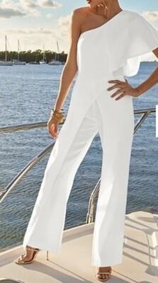 VENUS White Asymmetrical One Arm Jumpsuit size 16