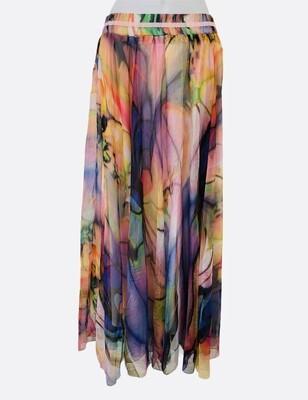 New AFIBI Watercolor Sheer Maxi Skirt sz Small