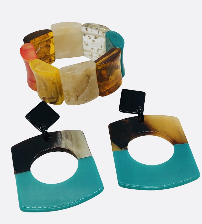 2pc Acrylic Bracelet & Earring Set
