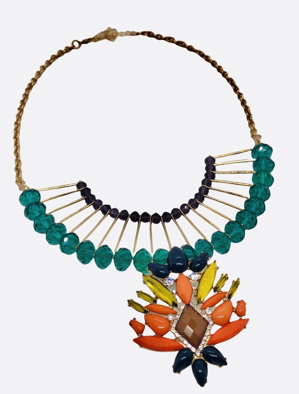 Multi Color Bead Gold Spoke Statement Necklace