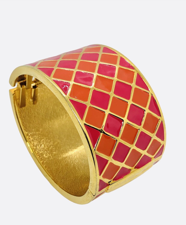Fushia & Orange Lattice Cuff Bracelet