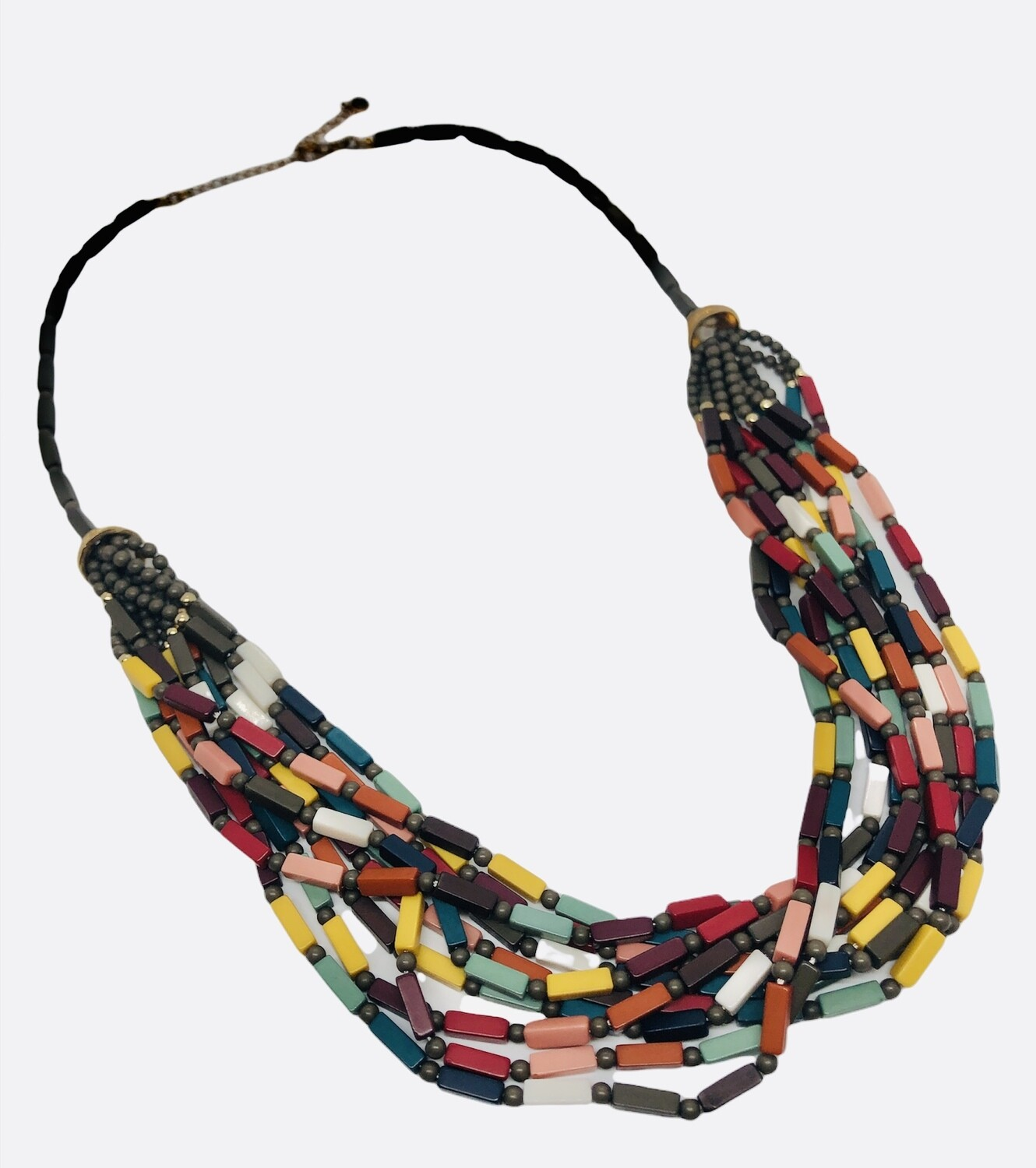 Multi-Strand Colorful Long Statement Necklace