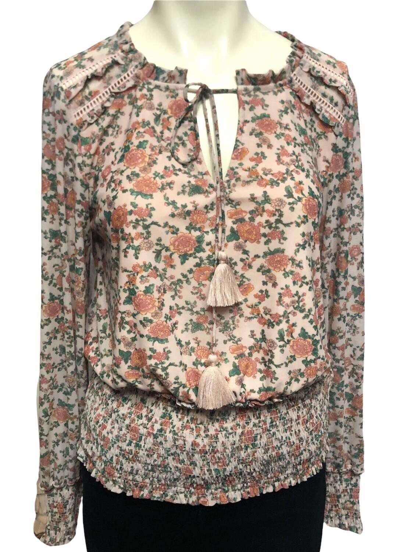 WONDERLY Blush Floral Peasant Blouse M