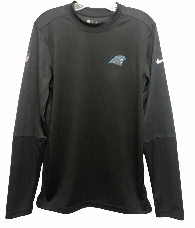 New NIKE CAROLINA PANTHERS Dri-Fit Blk/Gray Logo LS Shirt XS
