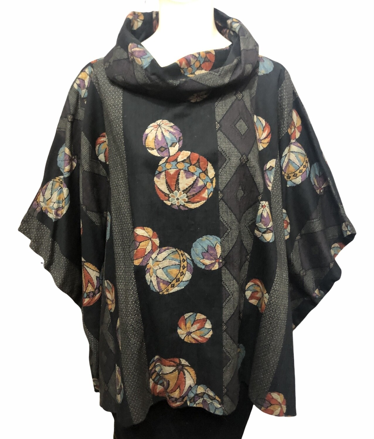 Ethnic Abstract Print Oversized Cowl Neck Tunic O/S