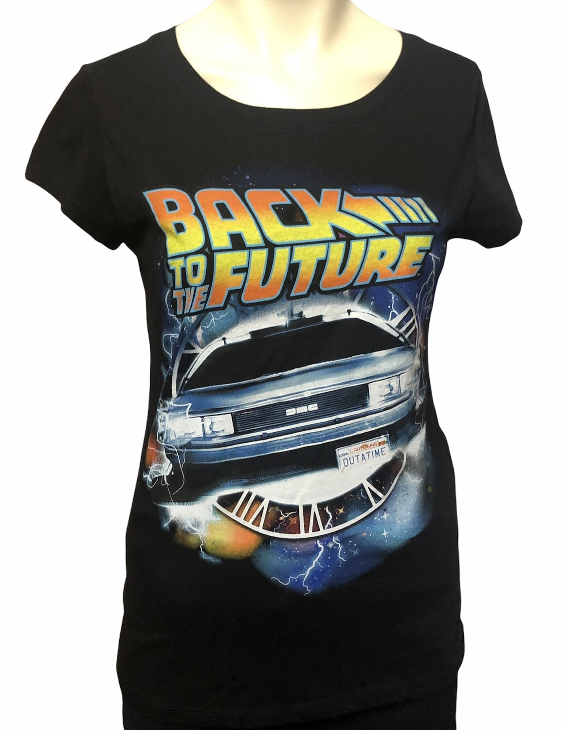 BACK TO THE FUTURE Black Graphic T-Shirt Large