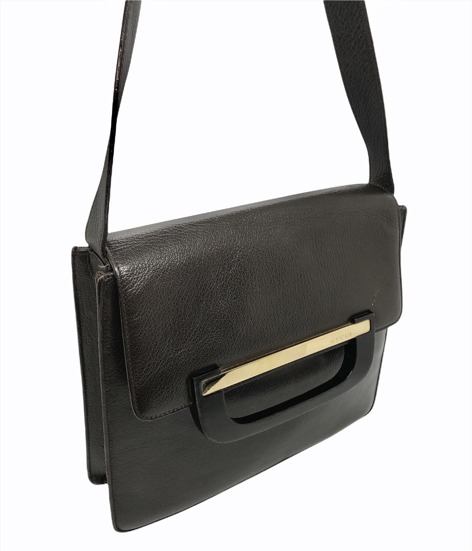 Vintage GUCCI Dark Brown Leather Shoulder Bag