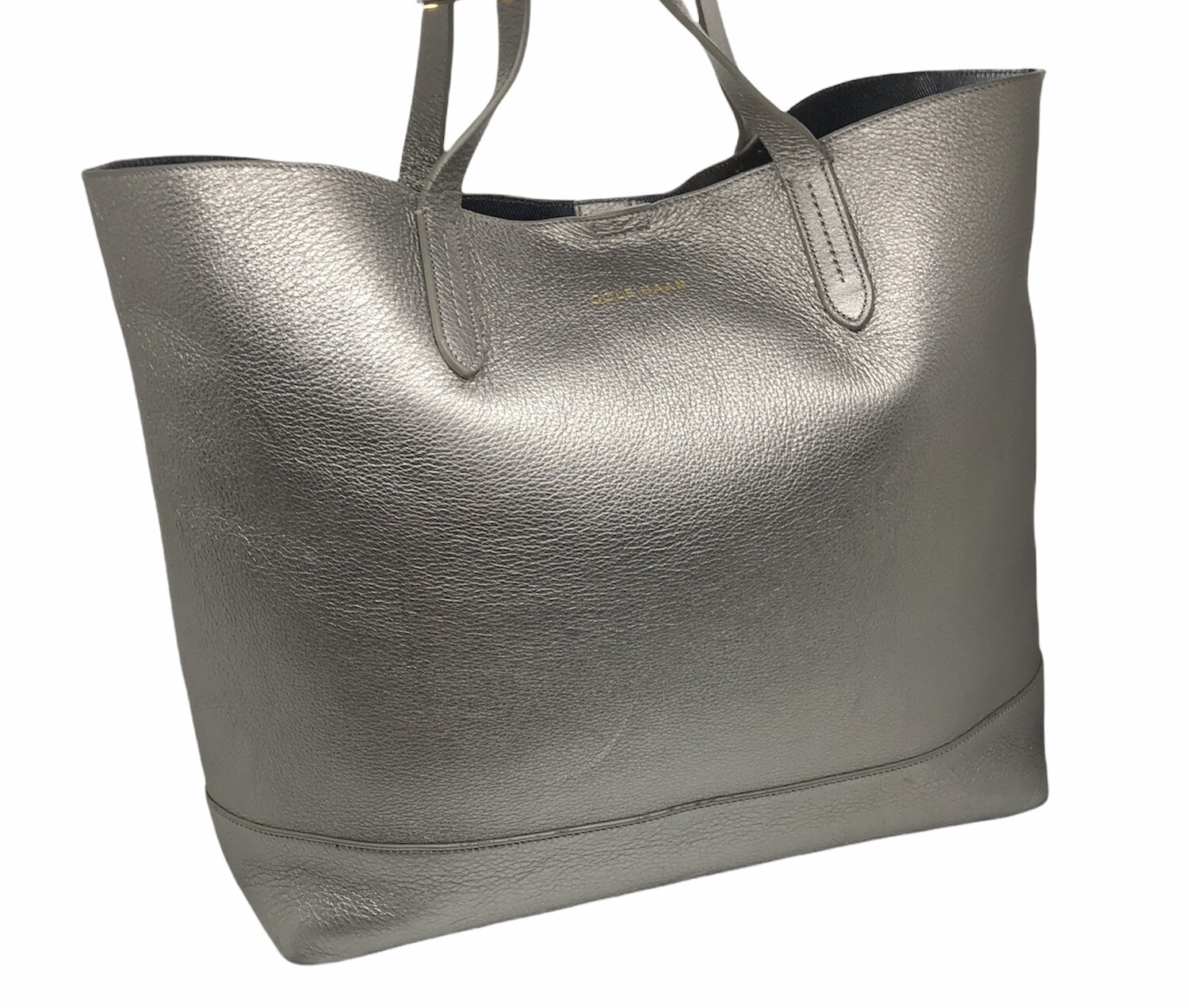 COLE HAAN Payson Pewter Pebble Leather Tote Bag