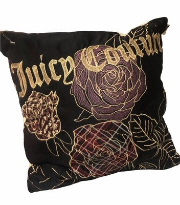 JUICY COUTURE Velvet Floral Embroidered Throw Pillow