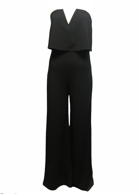 New LULUS Black Strapless V Jumpsuit sz L (Runs Small)