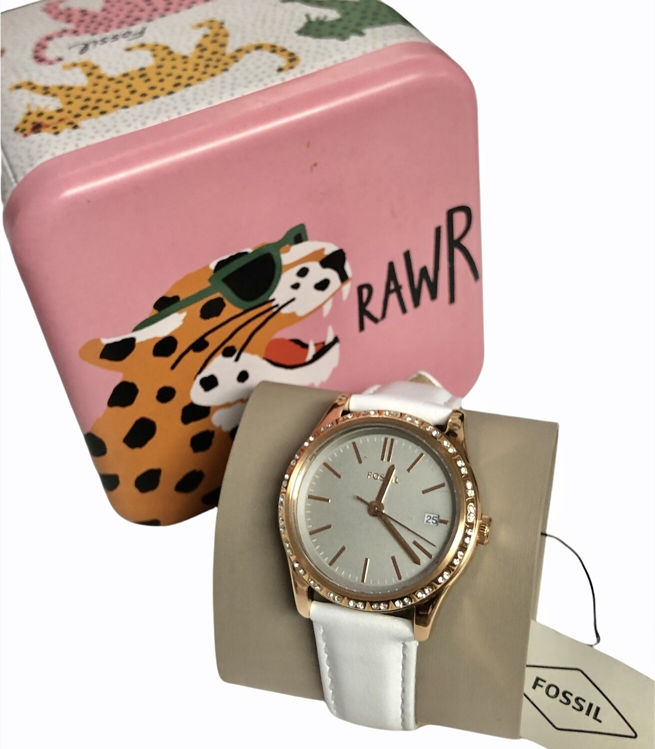 NEW FOSSIL Rose Gold & Stone Like Style Watch $119
