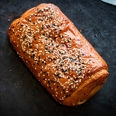 Croissant Sausage Roll with Mix Sesame Seeds