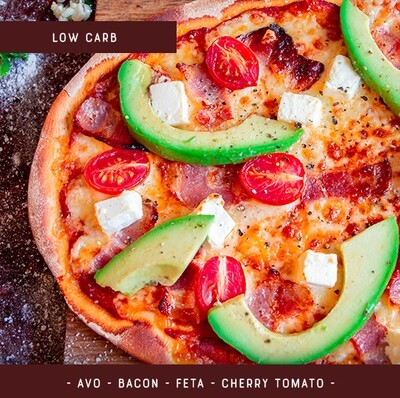 Low Carb Pizza Kit for 2 - Bacon Feta Avo Tomato