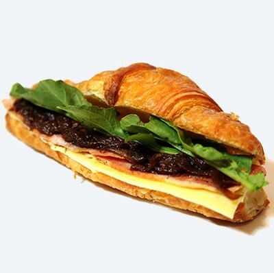 Sandwich - Croissant with Ham, Cheese, Rocket Onions