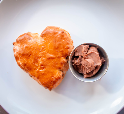 4 Heart Shaped Chocolate Chip Scones and Chocolate Ganache
