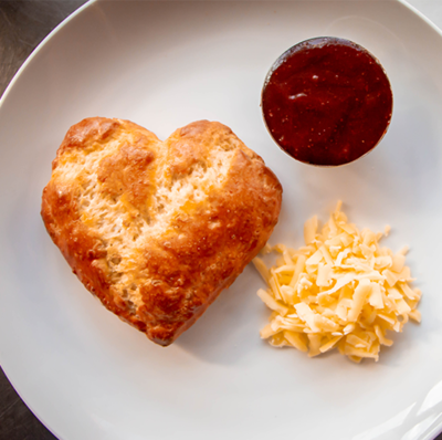 4 Heart Shaped Scones, Cheese and Jam