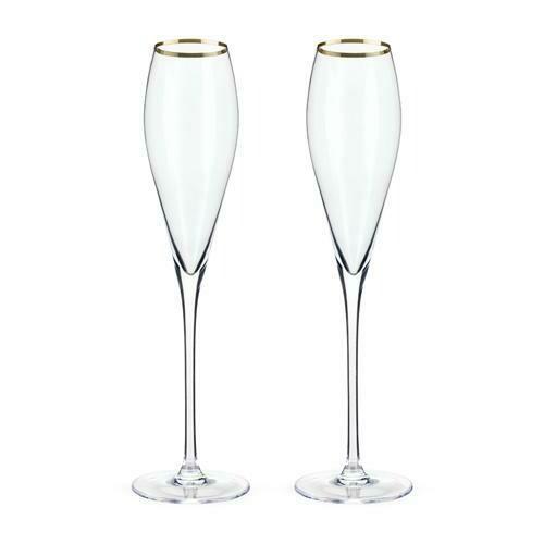 Gold Rimmed Crystal Champagne Flutes