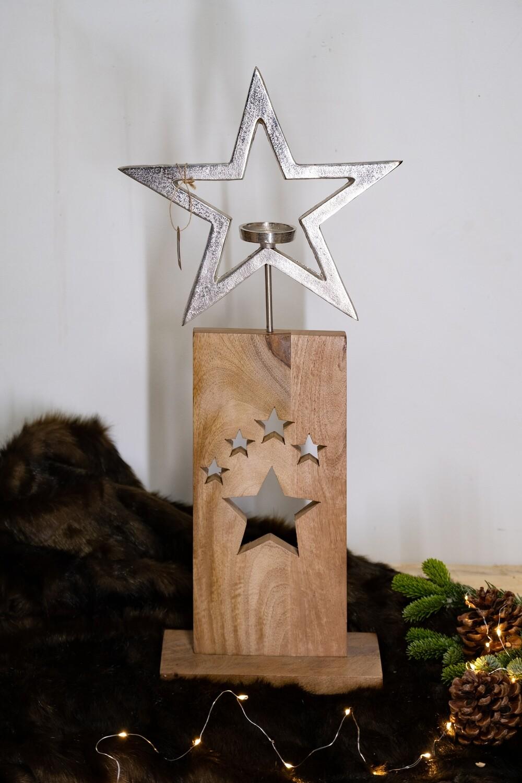 Grande étoile en métal et bois
