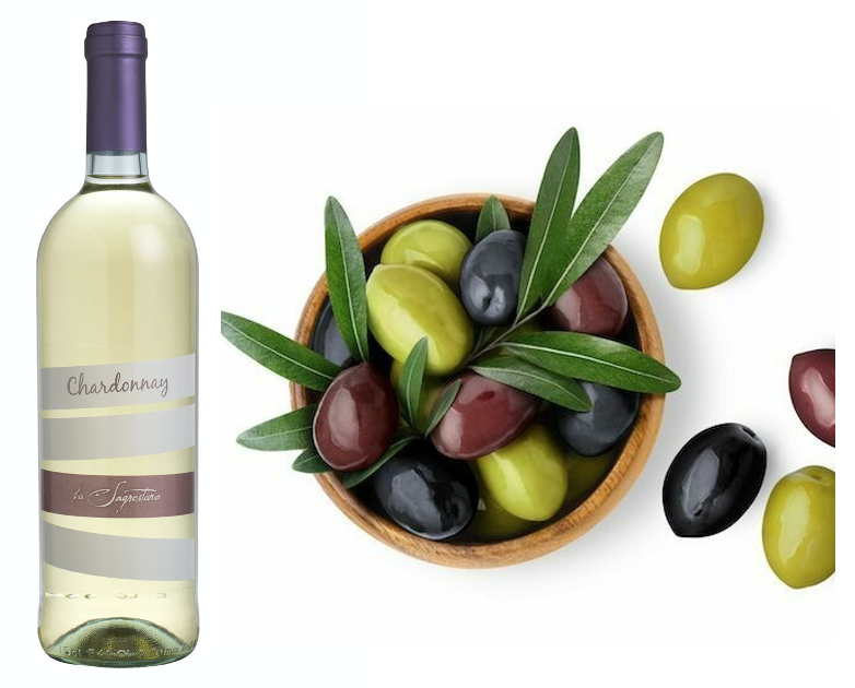 Mixed Olives with Chardonnay for 2 People