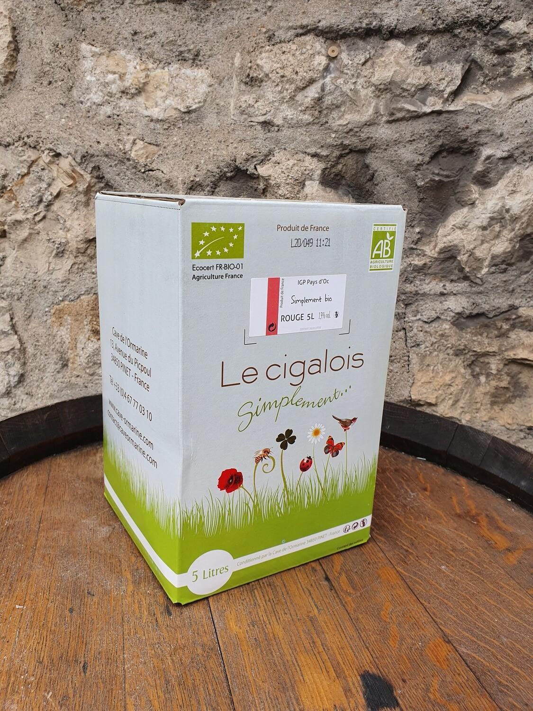 """Bag in Box 5 litres rouge """"BIO"""" Le Cigalois"""