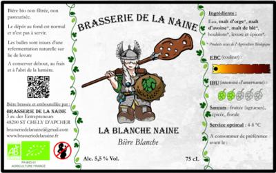 """Bière Blanche """" La Blanche Naine """" ( 6 bouteilles de  33 cl )"""