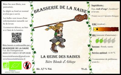 """Bière Blonde """" La Reine des Naines """" ( 6 bouteilles de 33 cl )"""
