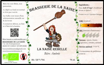 """Bière Ambré """" La Naine Rebelle """" ( 6 bouteilles de 33 cl )"""