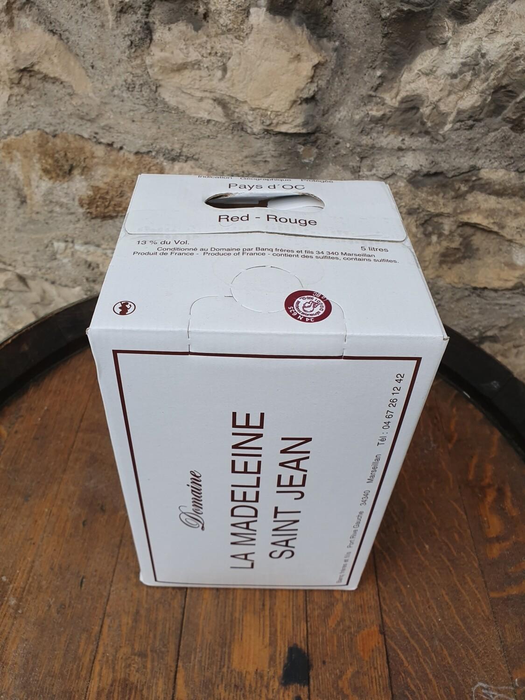 "Bag in Box 5 litres Domaine La Madelaine Saint Jean "" Rouge """