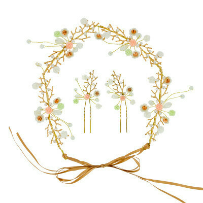 Set mariée headband et barrettes fleurs Beautélive