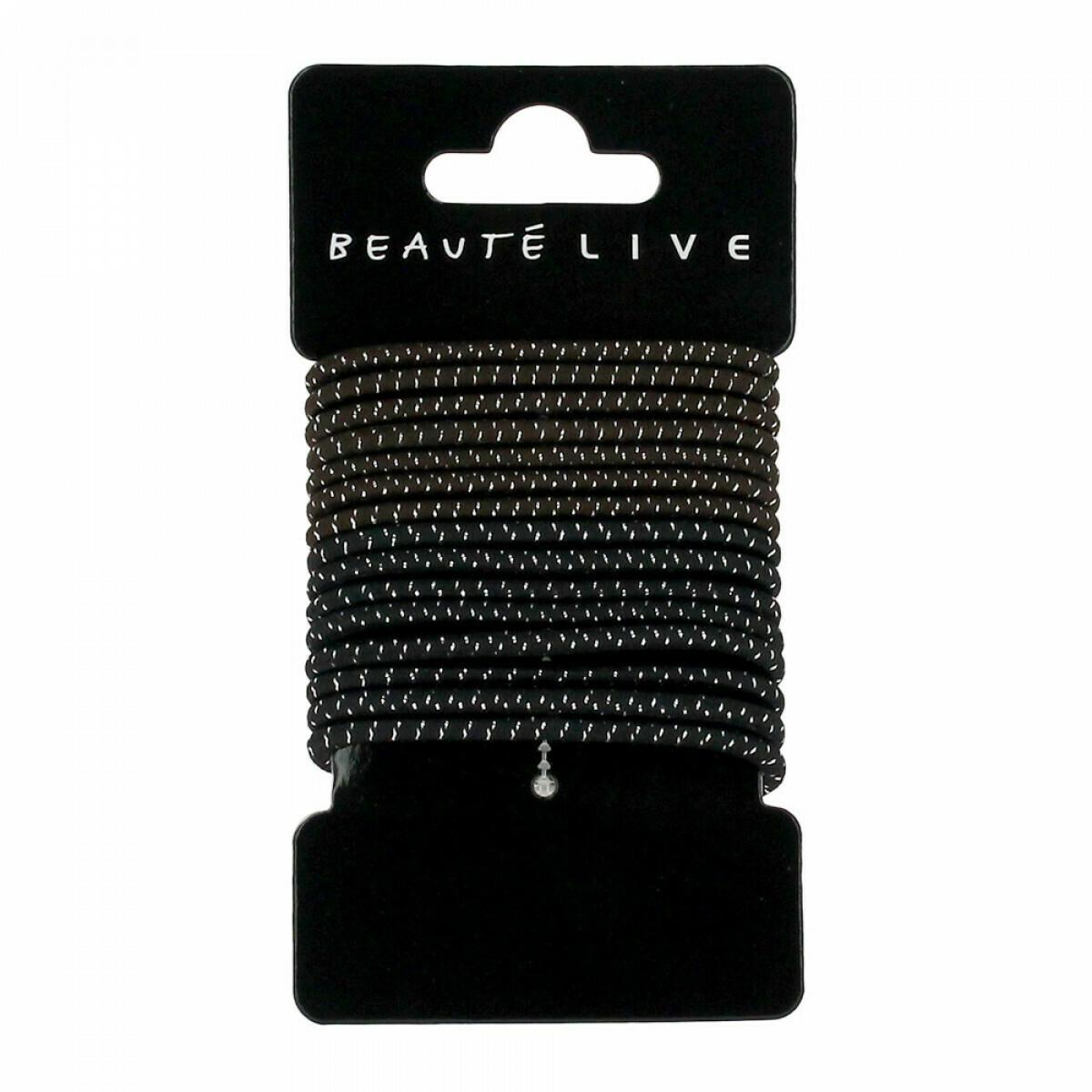 Elastiques noirs et marrons fil argent 4mm, lot de 15