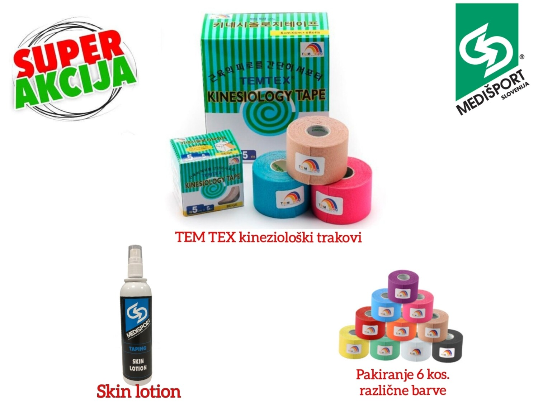 NMT PAKET (TEM TEX kineziološki trakovi 6 kos. + skin lotion)