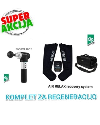 KOMPLET ZA REGENERACIJO ŠT. 1: AIR RELAX recovery system + BOOSTER PRO 2 masažna pištola