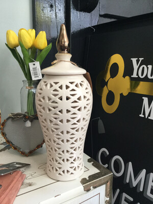145 Cream Lidded Vase