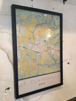 St. Clairsville Map 16x24 Woodblock Framed