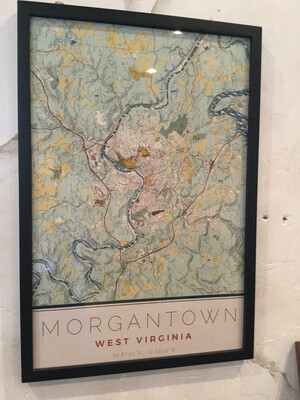 Morgantown Map 16x24 Woodblock